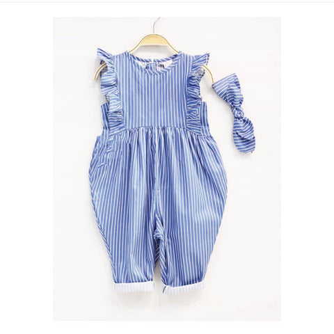 Ruffle Jumpsuit (Blue Denim)