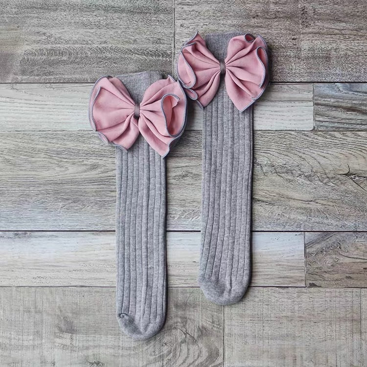 Pink & Grey Big Bow Anti Slip Long Socks