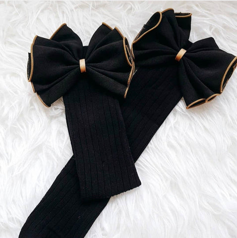 Black & Gold Big Bow Long Socks