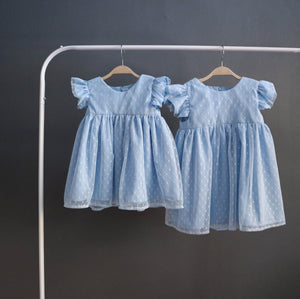 Polka Dot Ruffle Dress (Blue)