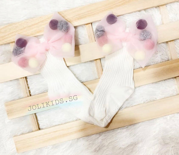 Girls Mid Length White & Pink Pom Pom Socks