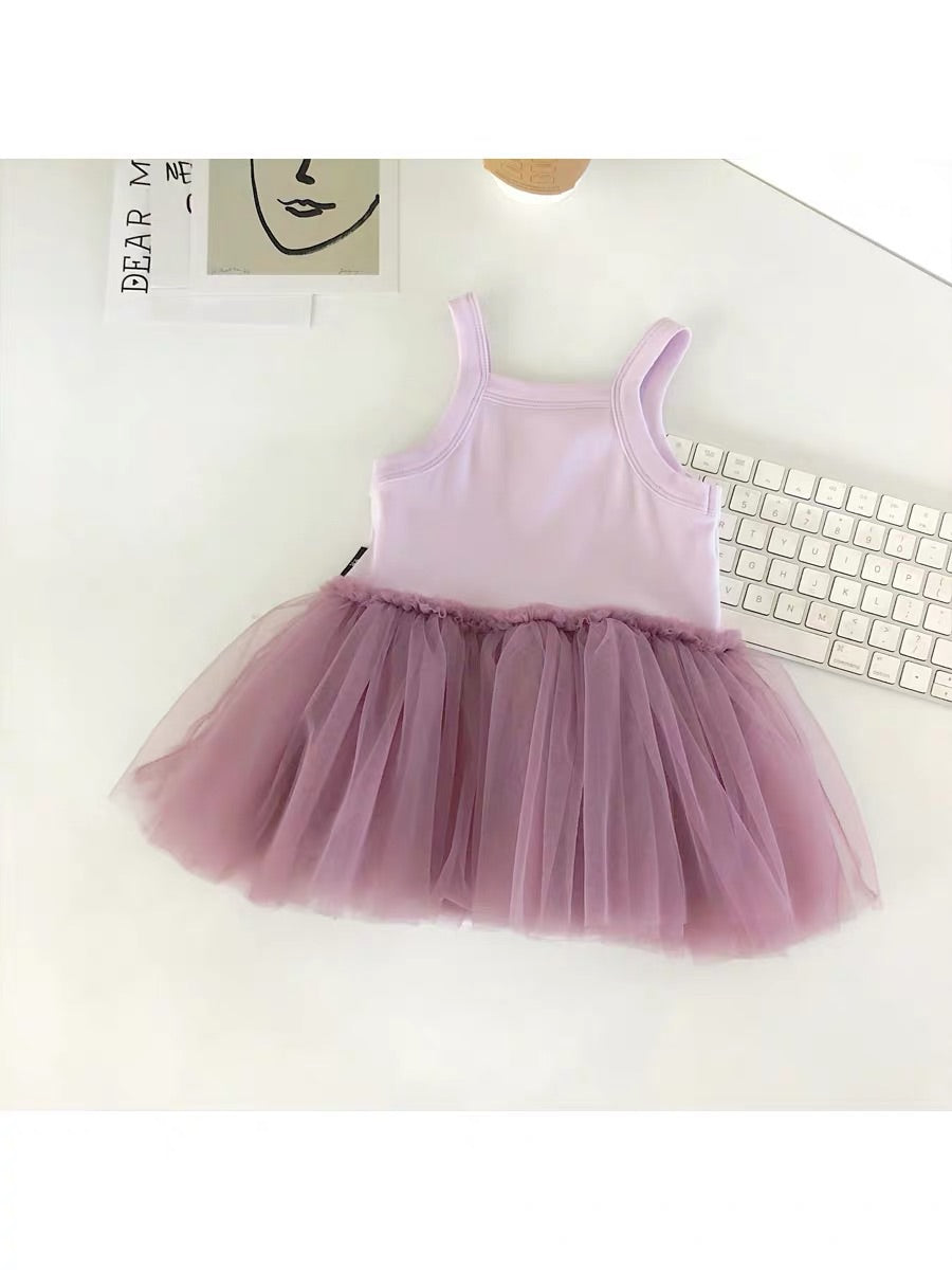 Sleeveless Tulle Romper Dress (3 colors)