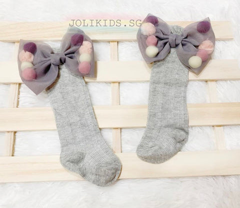 Girls Grey Pom Pom Socks