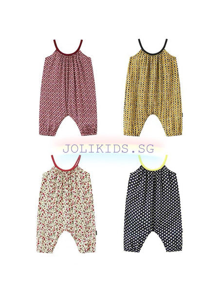 Sleeveless Flora & Checkered Romper (5 designs)