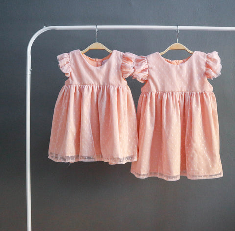 Polka Dot Ruffle Dress (Peach)