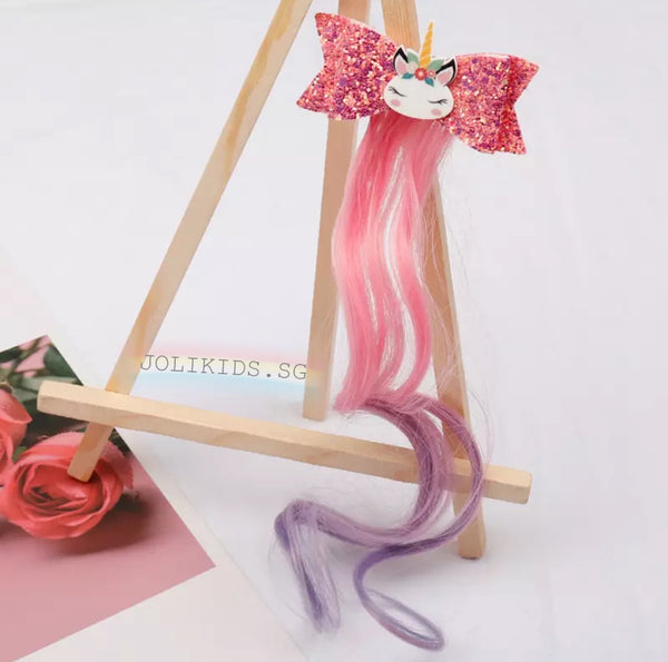 Unicorn Hair Clip with Curly Ponytail