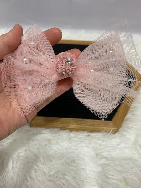 Princess Lace with Pearl Bowknot Baby Girls Hair Clip