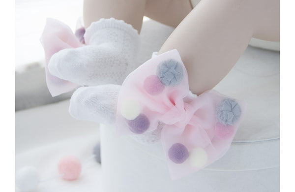 Pink Pom Pom Ribbon Ankle Socks