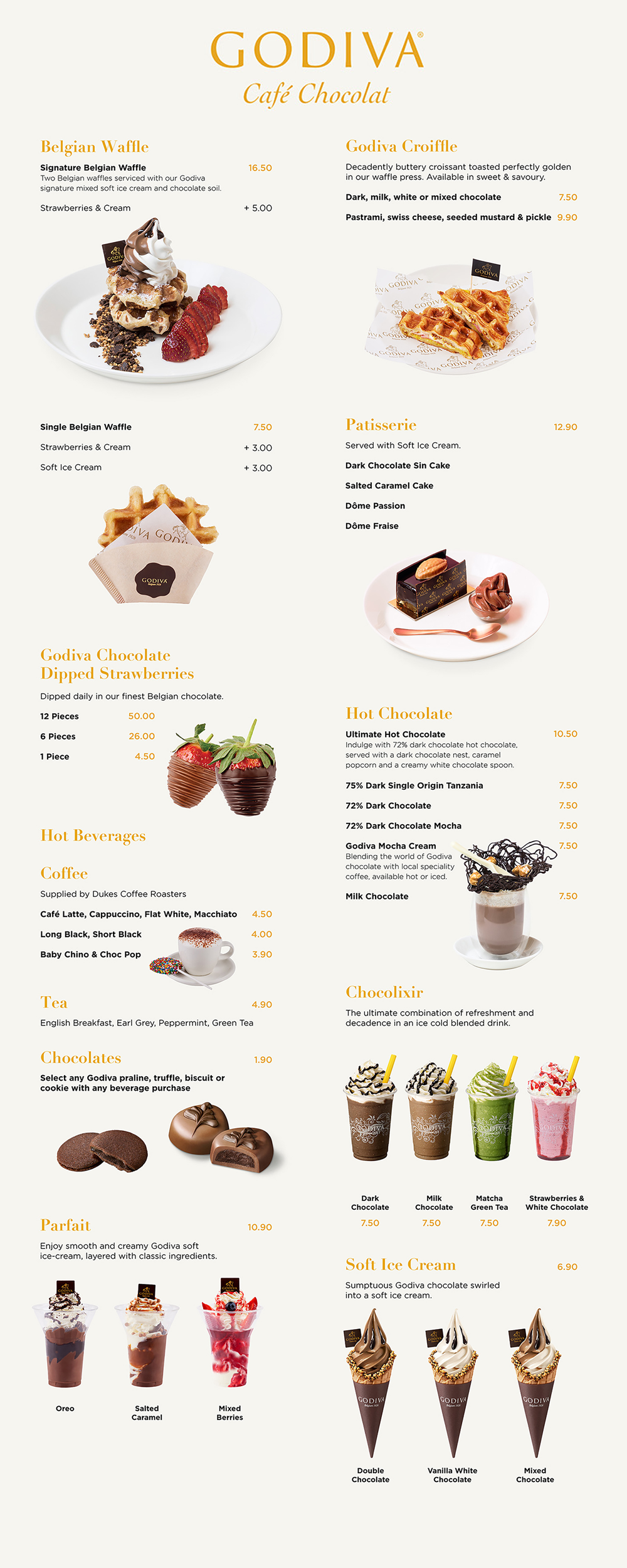 Godiva Australia's Cafe Menu Available at Melbourne Chocolate Cafes