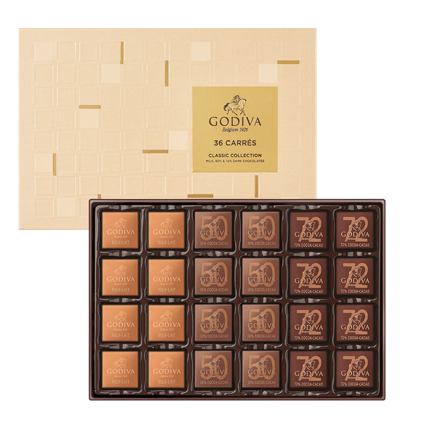 Carrés Assorted Chocolate Gift Box, 36 Pieces
