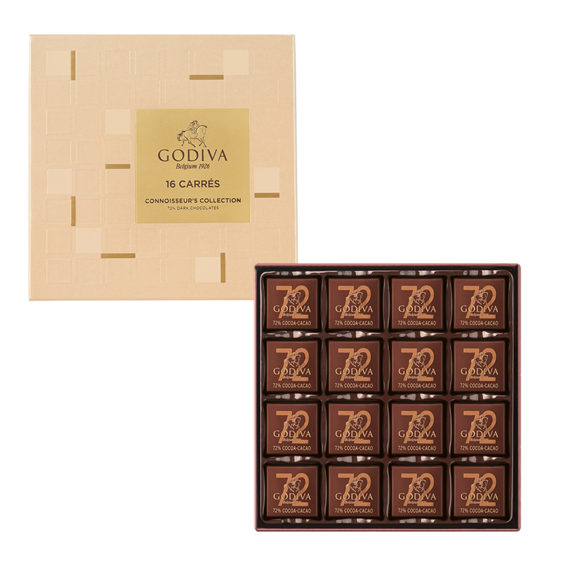 Carrés 72% Dark Chocolate Gift Box, 16 Pieces | 80g