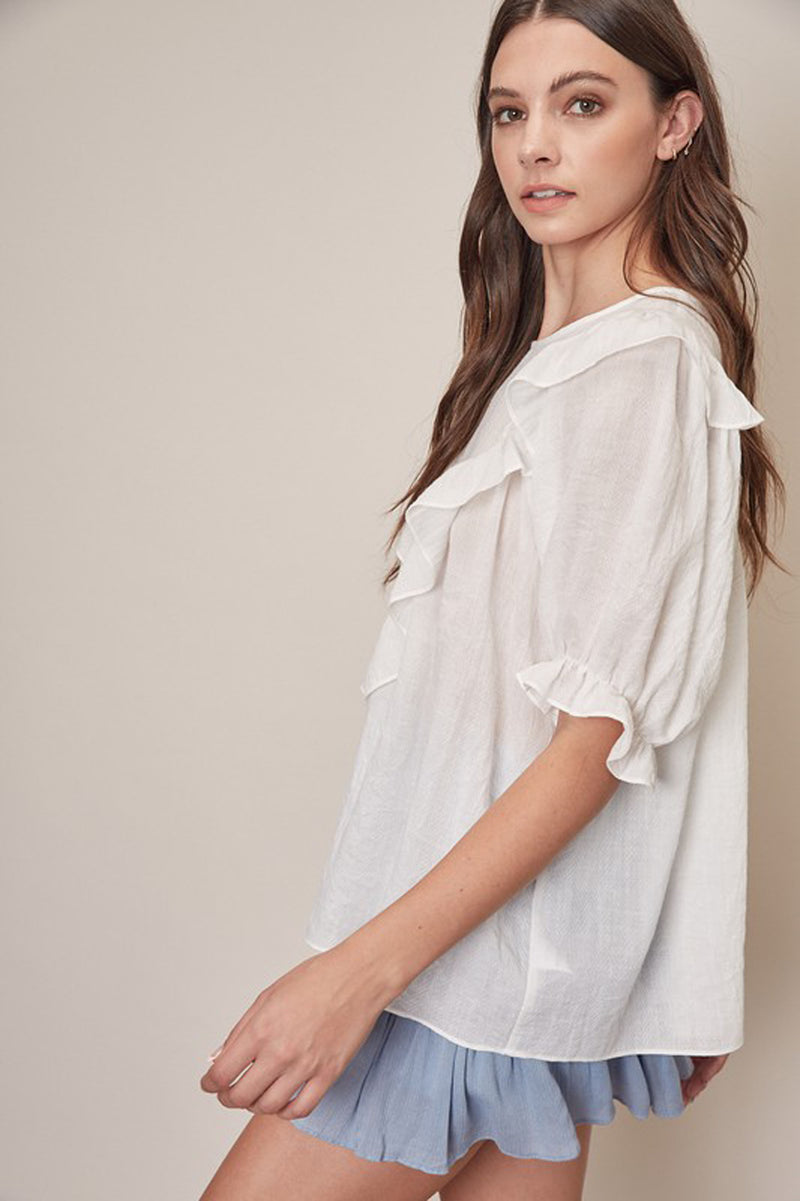 Ruffle Puffy Sleeve Top