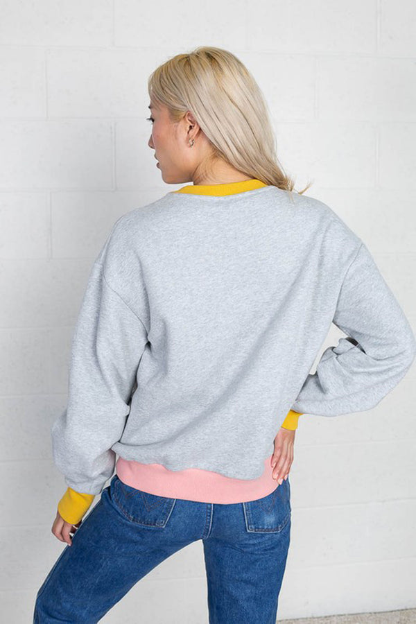 Color Block Ruched Sleeve Sweatshirt