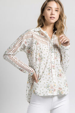 Floral Button Down with Crochet Detail