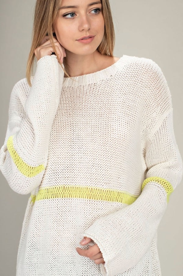 Neon Stripe Knit Sweater