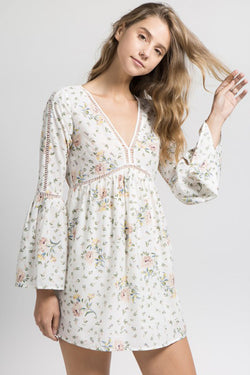 Bell Sleeve Floral Dress with Crochet Detail