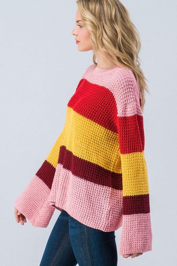 Retro Stripe Bell Sleeve Sweater