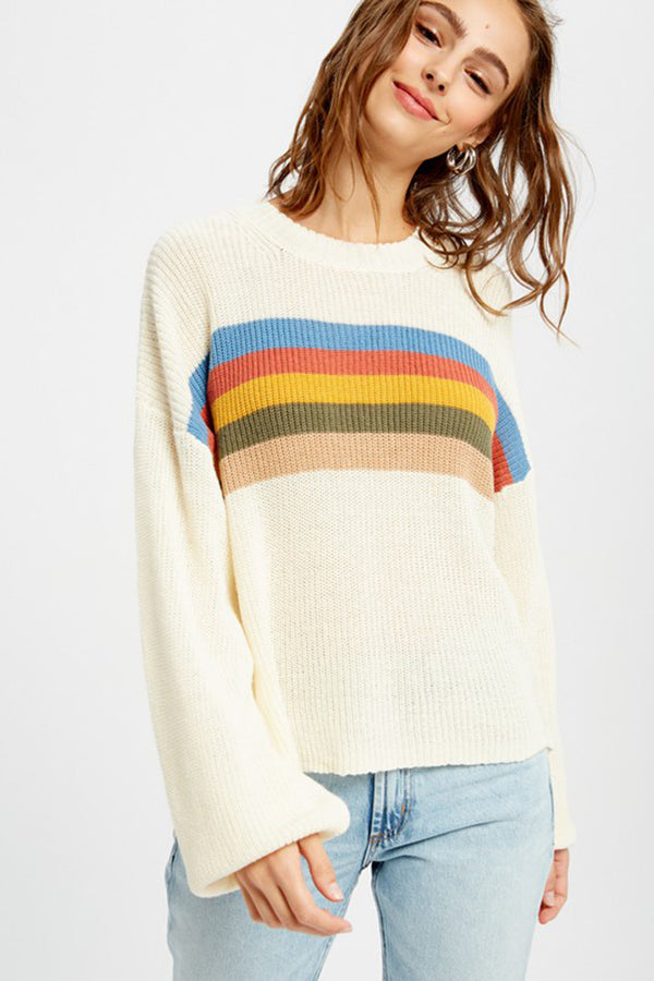 Retro Rainbow Stripe Sweater