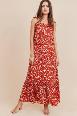 Dot Print Ruffle Maxi Dress
