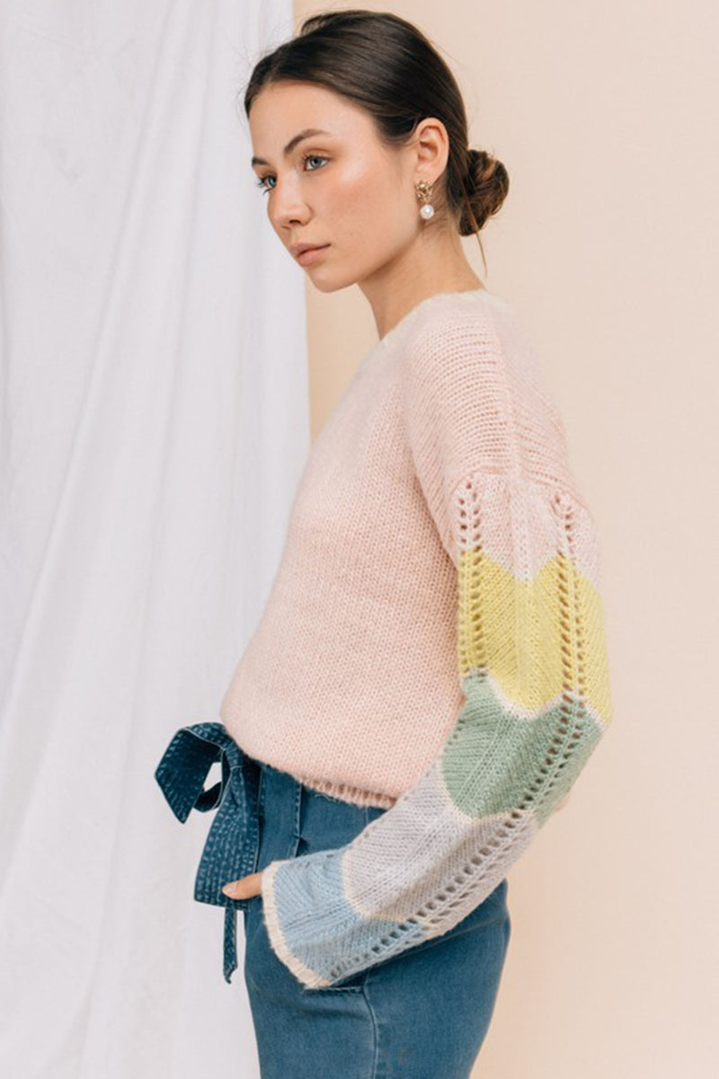 Pastel Color Block Sleeve Sweater