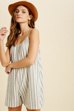 Spaghetti Strap Striped Pocket Romper