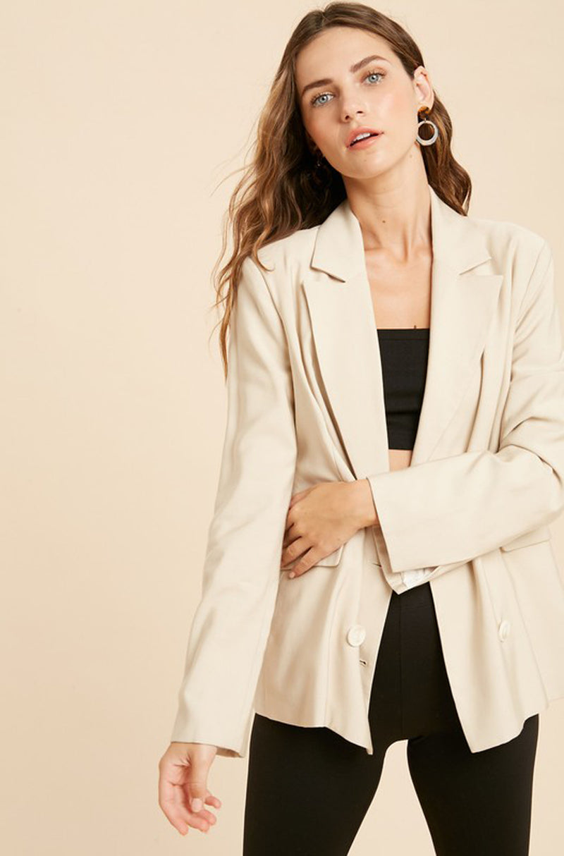 Ivory Double Breasted Blazer