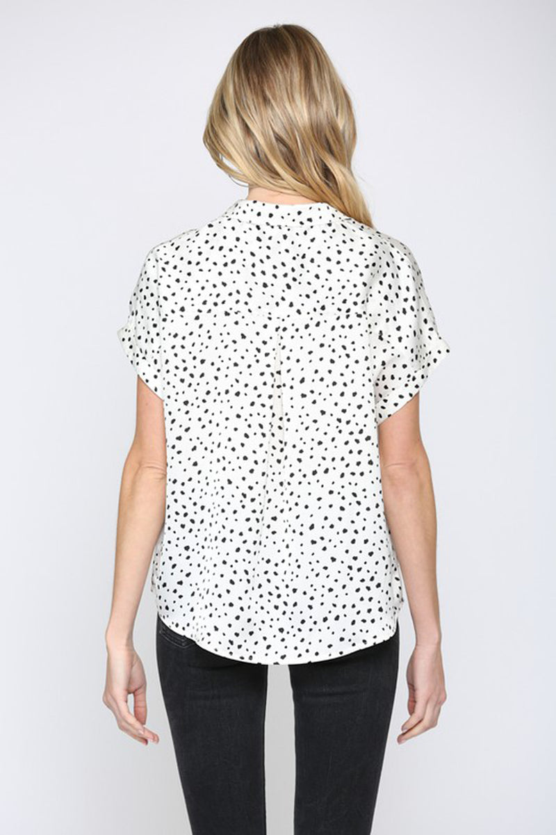Satin Button Down Dot Print Top