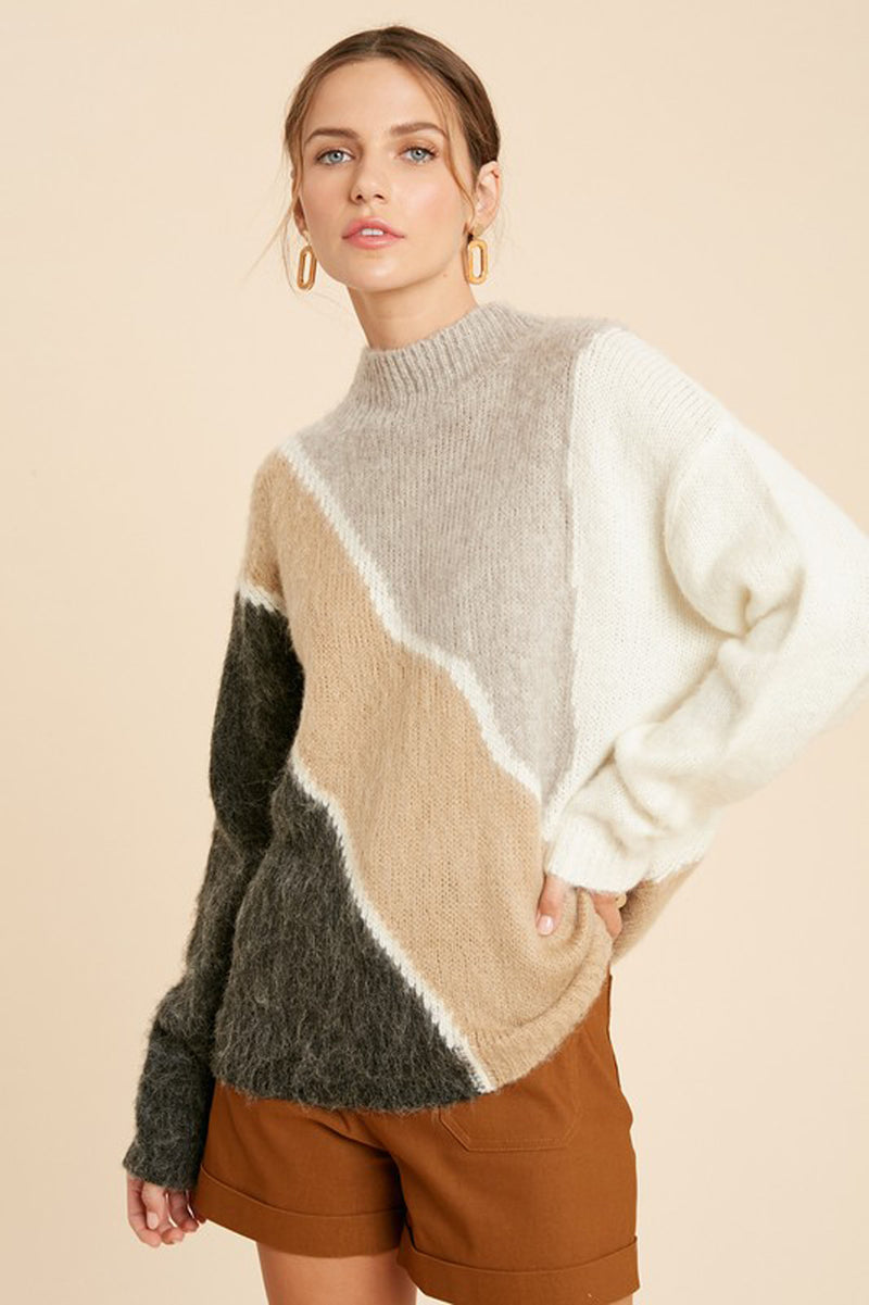 Brushed Color Block Mock Neck Sweater