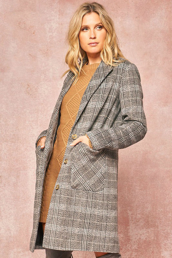 Plaid Knee-Length Overcoat