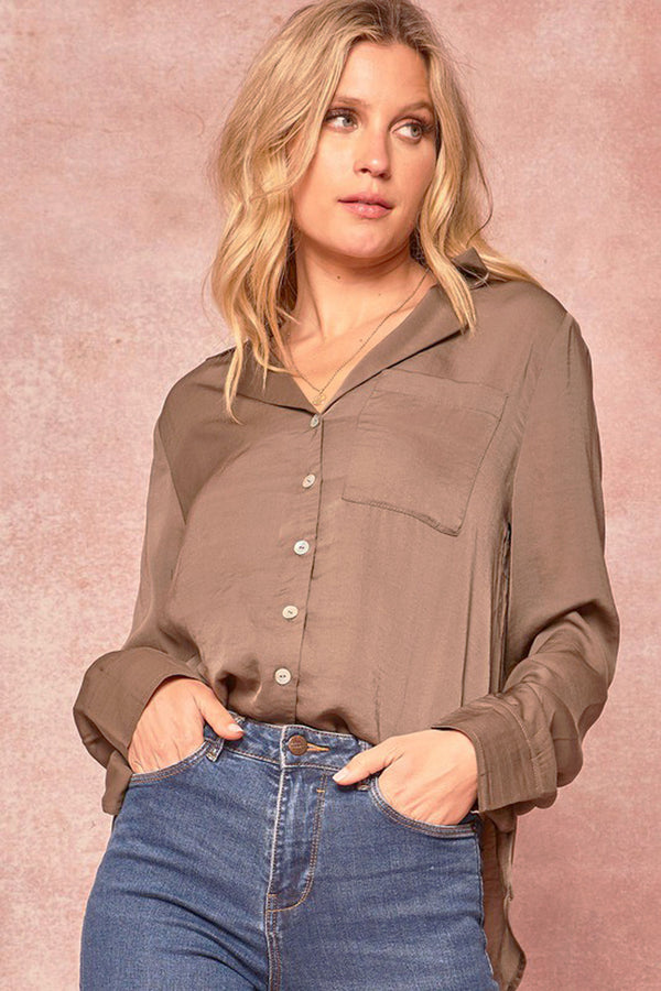 Collared Satin Button Up Blouse