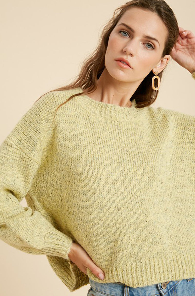 Yellow Knit Crew Neck Sweater
