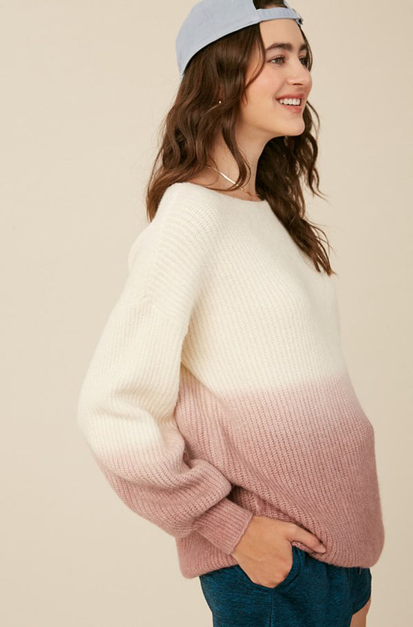 Pink Ombre Balloon Sleeve Sweater