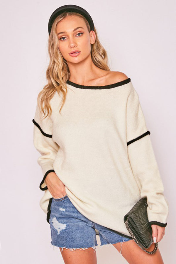 Oversized Black Trim Sweater