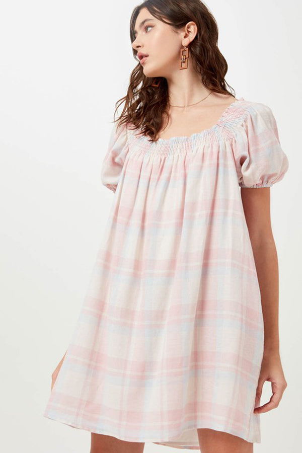 Pastel Plaid Puff Sleeve Dress
