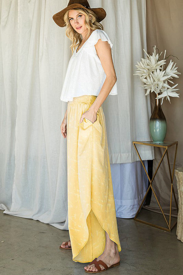 Yellow Smocked Wide Leg Pants
