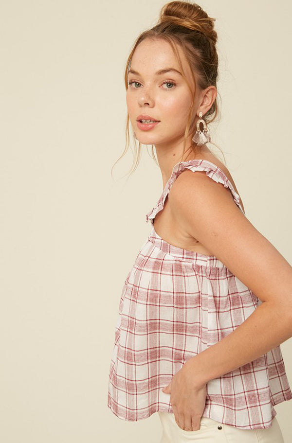 Gingham Ruffle Strap Cami