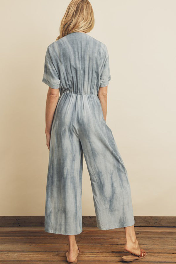 Washed Front Tie Jumpsuit
