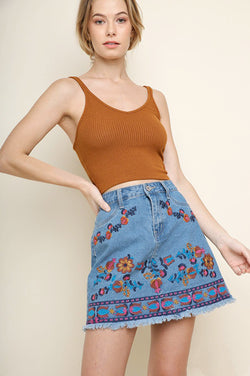 Multicolor Embroidered Denim Mini Skirt