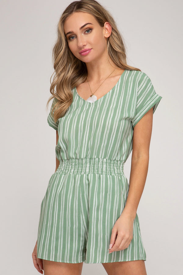 Sage Striped Smocked Romper