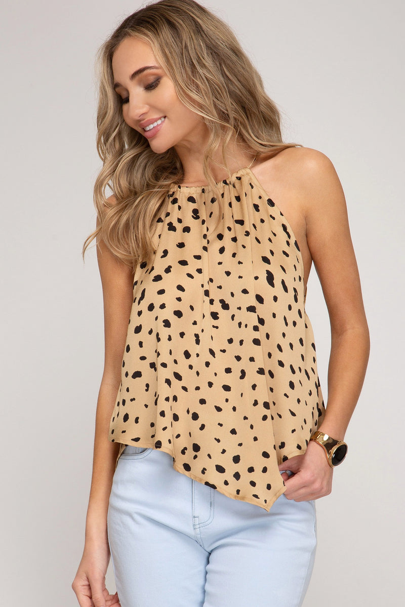 Dot Print Handkerchief Top