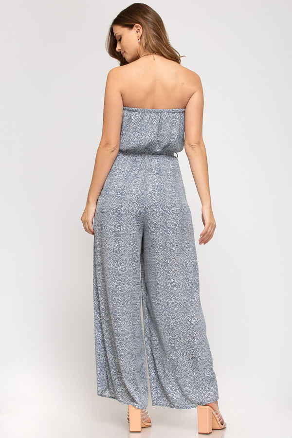 Strapless Dot Print Wide Leg Jumpsuit
