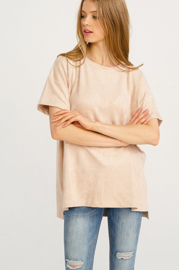 Faux Suede Basic Tee
