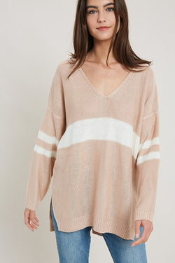 Blush Varsity Stripe Sweater