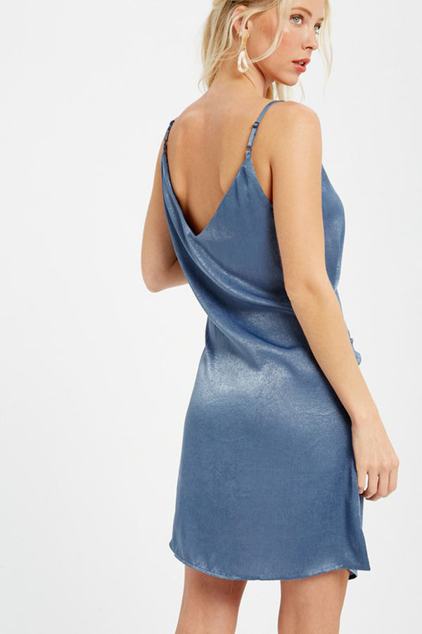 Satin Cami Wrap Dress