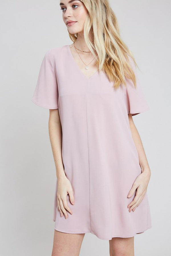 Mauve V-neck Pocket Shift Dress