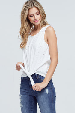 Distressed Front Tie Tank