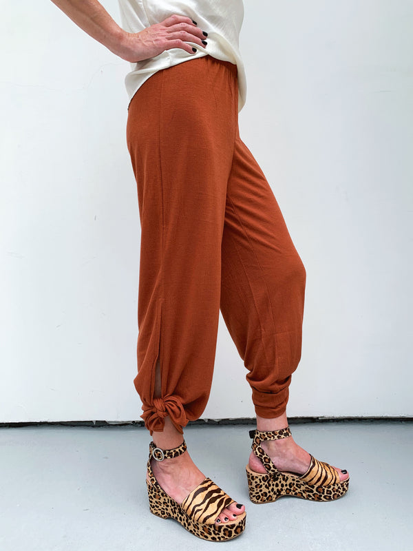 Rust Side Slit Pants