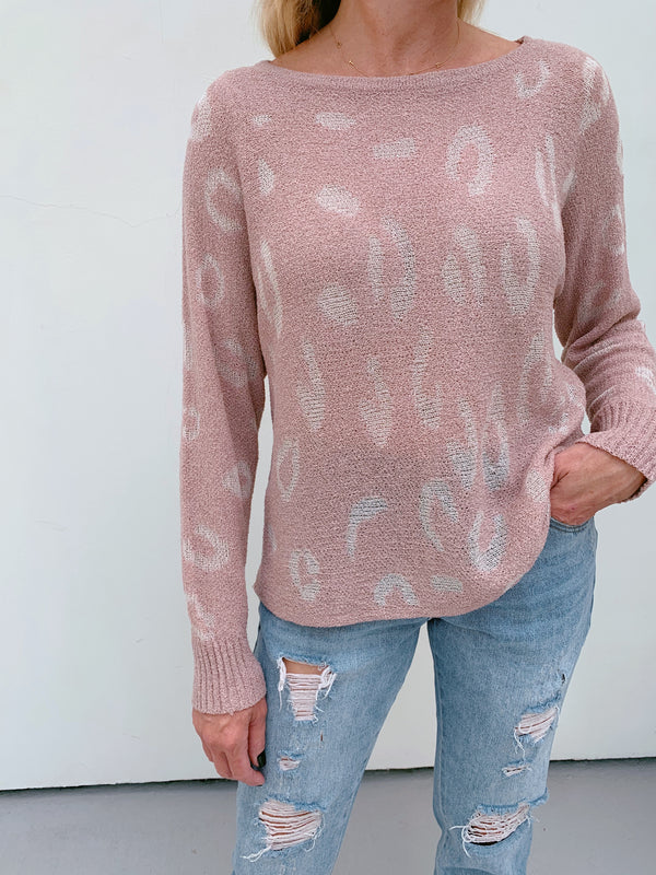 Blush Lightweight Leopard Sweater