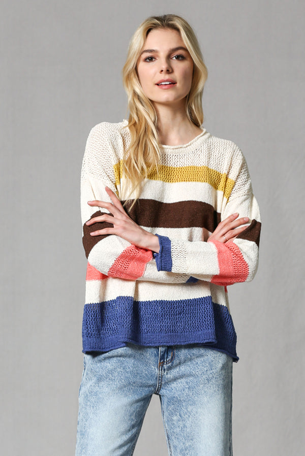 Multi Stripe Summer Sweater