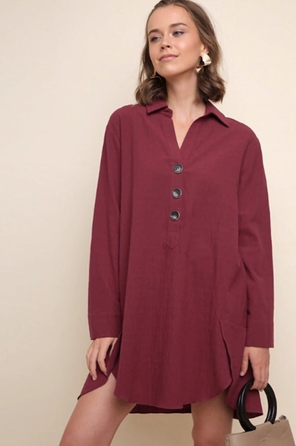 Burgundy Collared Shirt Dress